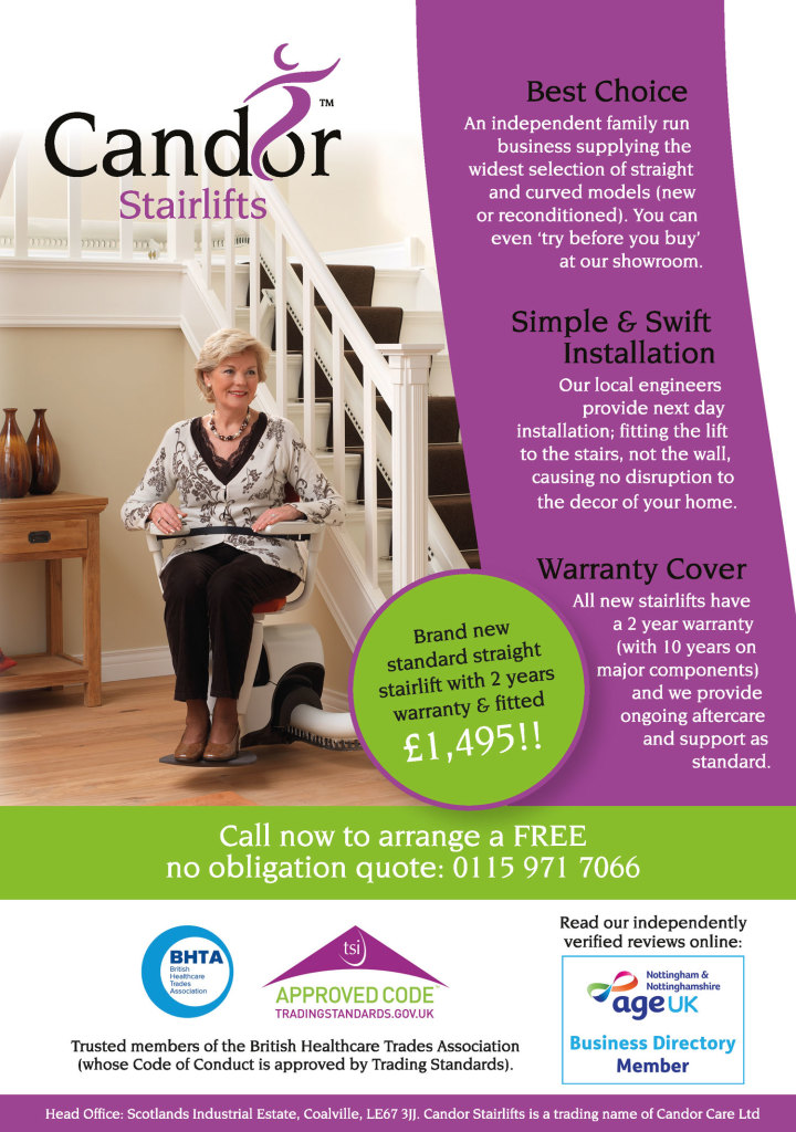 Full Page Advertisement: Candor Stairlifts